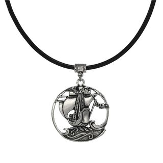 Jewelry by Dawn Unisex Large Pewter Sailing Ship Greek Leather Cord Necklace - Black