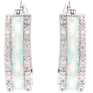 Sterling Silver 1/4ct TDW Diamond and Created Opal Hoop Earrings