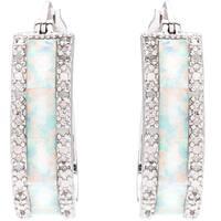 Sterling Silver 1/4ct TDW Diamond and Created Opal Hoop Earrings