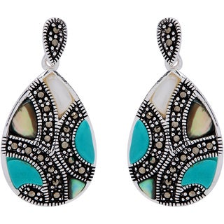 Silverplated Marcasite Multi-gemstone Teardrop Earrings