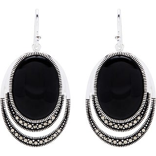 Silverplated Marcasite and Black Onyx Drop Earrings