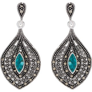 Silverplated Marcasite and Reconstituted Turquoise Drop Earrings