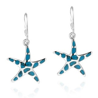 Mystical Sea Life Starfish IInlay Sterling Silver Earrings (Thailand)