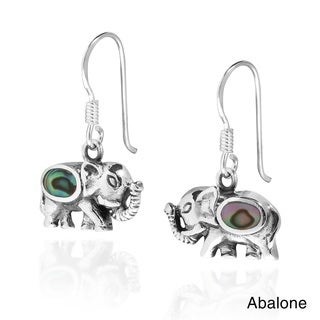 Enchanting Elephant Inlaid Sterling Silver Dangle Earrings (Thailand)