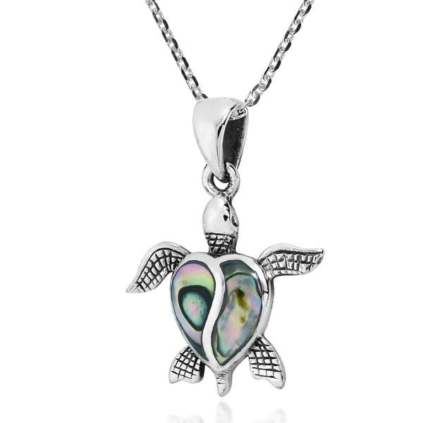 Sterling Silver Created Gemstone Ruby Ocean Sea Cute Animal Pendant Necklace