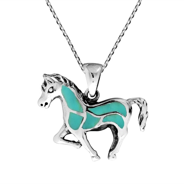 Jewels Obsession Horse Necklace Rhodium-plated 925 Silver Horse Pendant with 18 Necklace