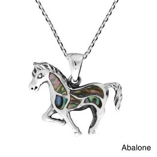 Free Spirit Horse Stone Inlay .925 Sterling Silver Necklace (Thailand)