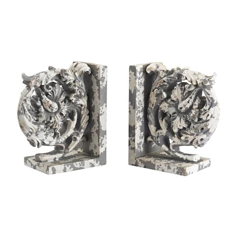Sterling Aged Plaster Scroll Bookends