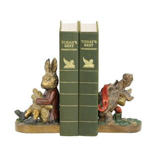 Sterling Pair of Tortoise And Hare Bookends