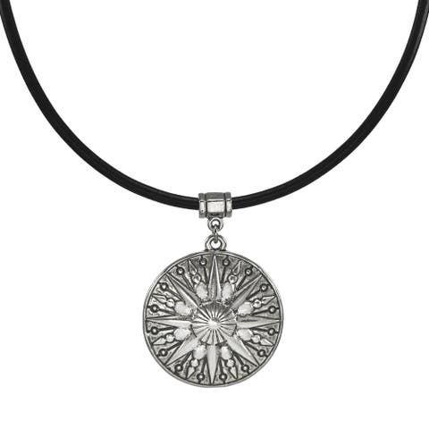 Handmade Jewelry by Dawn Unisex Pewter Sun Leather Cord Necklace (USA) - Black