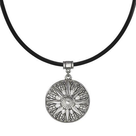 Handmade Jewelry by Dawn Unisex Pewter Sun Leather Cord Necklace (USA) - Black/Silver