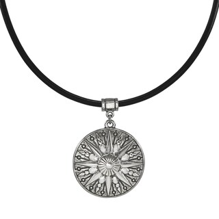 Handmade Jewelry by Dawn Unisex Pewter Sun Greek Leather Cord Necklace - Black/ silver (2 options available)