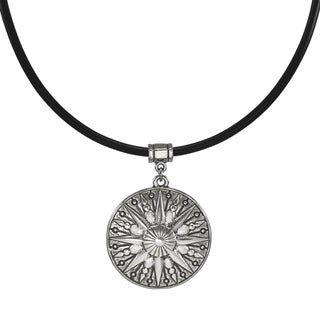 Handmade Jewelry by Dawn Unisex Pewter Sun Greek Leather Cord Necklace - Black/ silver