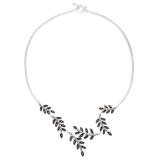 Silverplated Marcasite Leaf Bypass Toggle Y Necklace