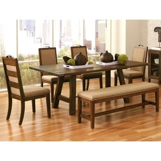 Moccasin Rustic Trestle Style Base with Nailhead Trim Dining Set