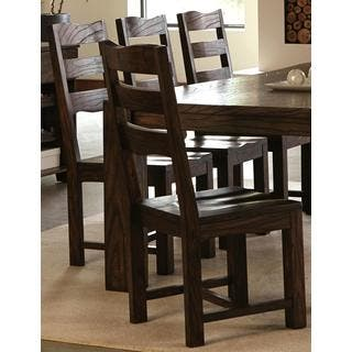 Saratoga Modern Solid Block Wood Dining Chairs Set Of 2