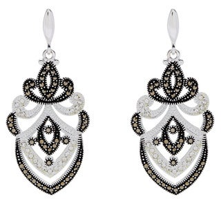 Silverplated Marcasite and Clear Crystal Chandelier Earrings