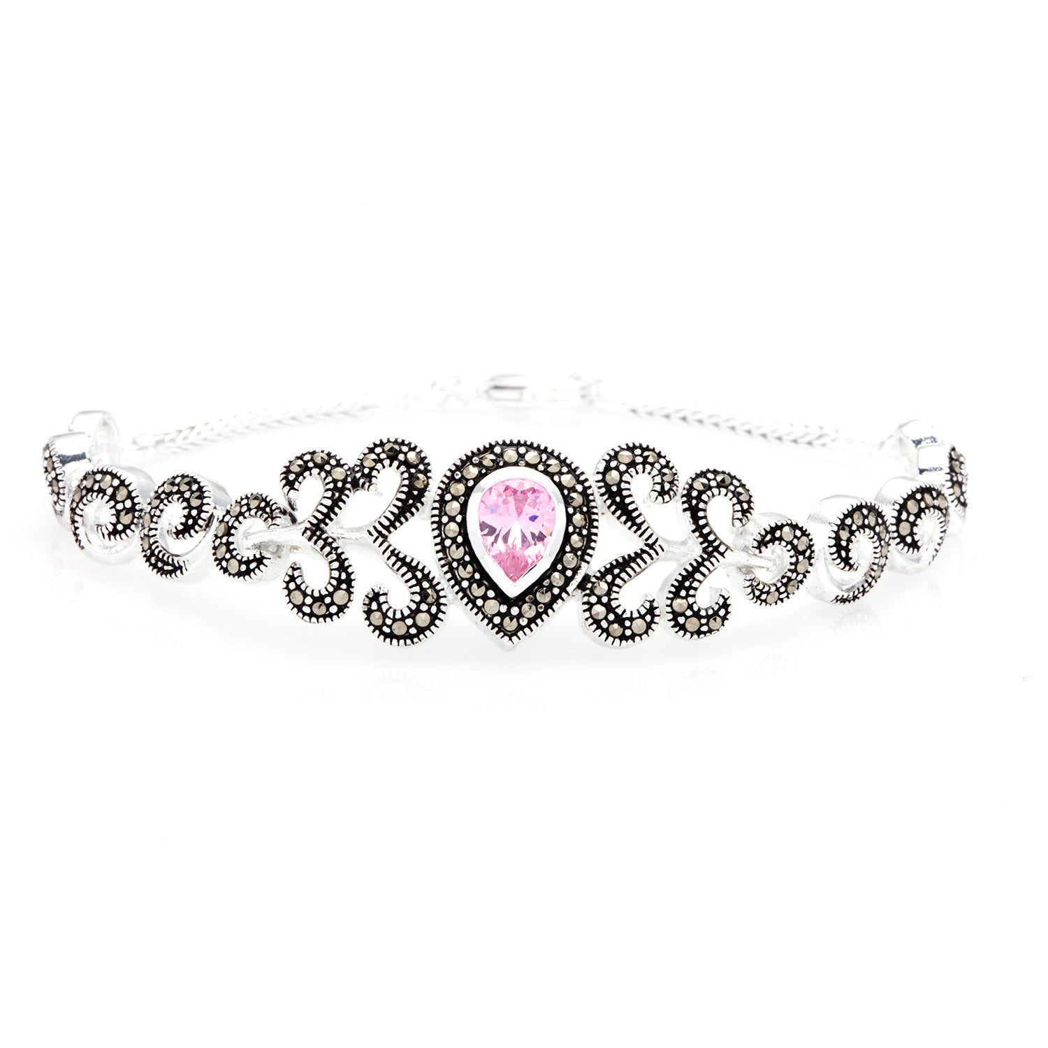 Malin + Mila Silverplated Pink Cubic Zirconia and Marcasi...