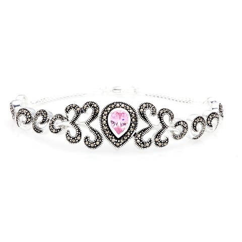 Silverplated Pink Cubic Zirconia and Marcasite Bracelet