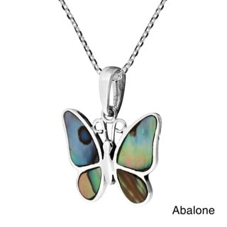Tropical Soul Butterfly Inlaid Stone .925 Silver Necklace (Thailand)