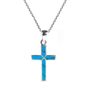 Handmade Cross of Faith .925 Inlaid Stone Sterling Silver Necklace (Thailand)