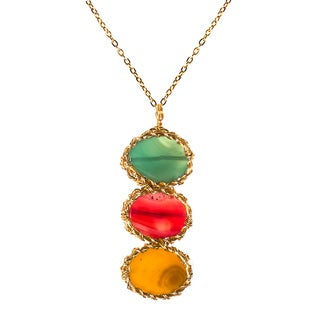 Handmade Jovial Trance Triple Multicolor Agate Brass Chain Necklace (Philippines)