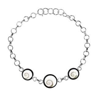 Swirl Circle Shiva Shell .925 Sterling Silver Bracelet (Thailand)