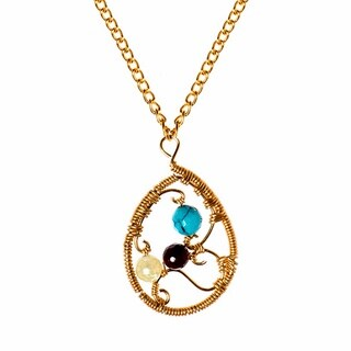 Ethereal Web Teardrop Multi Stone Brass Chain Necklace (Phillipines)
