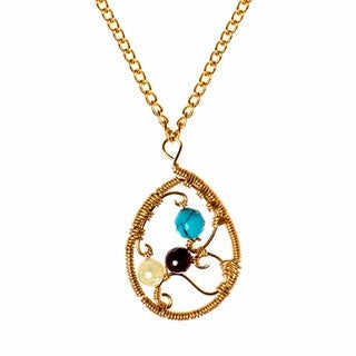 Handmade Ethereal Web Teardrop Multi Stone Brass Chain Necklace (Phillipines)