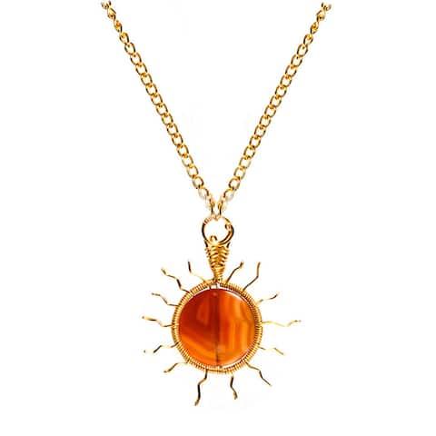 Handmade Orange Agate Brass Chain Necklace (Philippines)