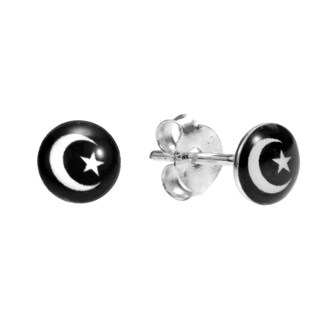Handmade Petite Sparkly Moon and Star Sterling Silver Stud Earrings (Thailand)