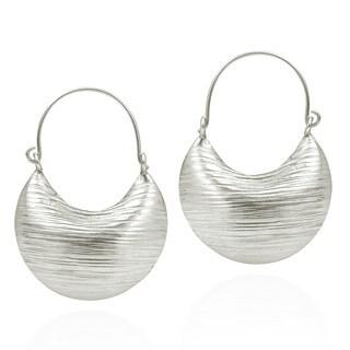 Textured Basket Hoop Karen Handmade Tribal Silver Earrings (Thailand)