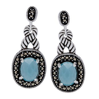 Silverplated Marcasite and Aqua Glass Checkerboard Earrings