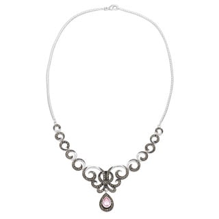 Silverplated Pink Cubic Zirconia and Marcasite Scroll Necklace