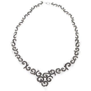 Silverplated Marcasite and White Cubic Zirconia Necklace