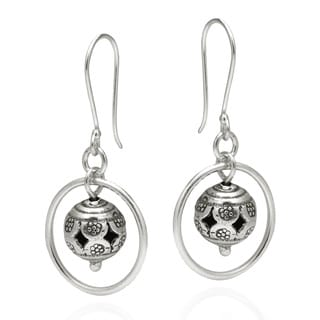Tribal Tracery Floral Ball Handmade Silver Dangle Earrings (Thailand)