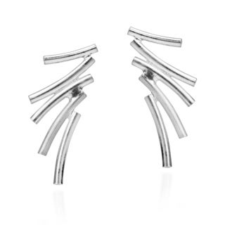 Handmade Lightning Inspired Tube .925 Sterlng Silver Post Earrings (Thailand)