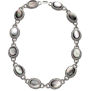 Silverplated Grey Shell Stone and Marcasite Necklace