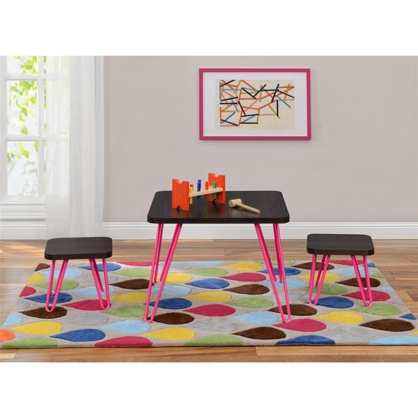 Altra Kids Pink Retro Style 3 Piece Table And Stool Set