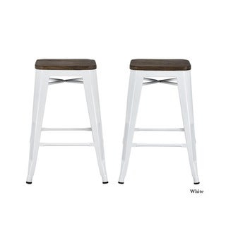 Avenue Greene Fusion 24-inch Metal Backless Counter Stool (Set of 2)