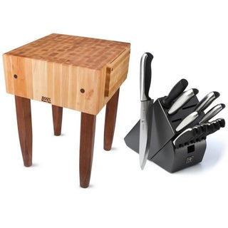 John Boos 24x18 Cherry Stain Butcher Block Table PCA2-CR with Henckels 13-piece Knife Set