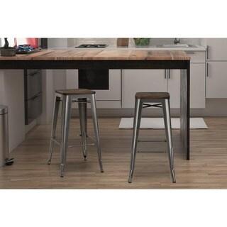 Avenue Greene Filipa  30-inch Metal Bar Stool with Wood Seat