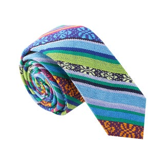 Skinny Tie Madness Men's 'No Way Jose' Multi Color Tribal Print Skinny Tie