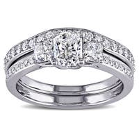 Miadora Signature Collection 14k White Gold 1 1/5ct TDW Diamond 3-stone Bridal Ring Set (G-H,I1-I2)