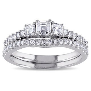 Miadora Signature Collection 14k White Gold 1 1/5ct TDW Diamond 3-stone Bridal Ring Set (G-H,VS1-VS2)