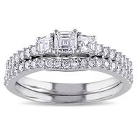 Miadora Signature Collection 14k White Gold 1 1/5ct TDW Diamond 3-stone Bridal Ring Set