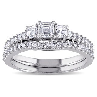 Miadora Signature Collection 14k White Gold 1 1/5ct TDW Diamond 3-stone Bridal Ring Set