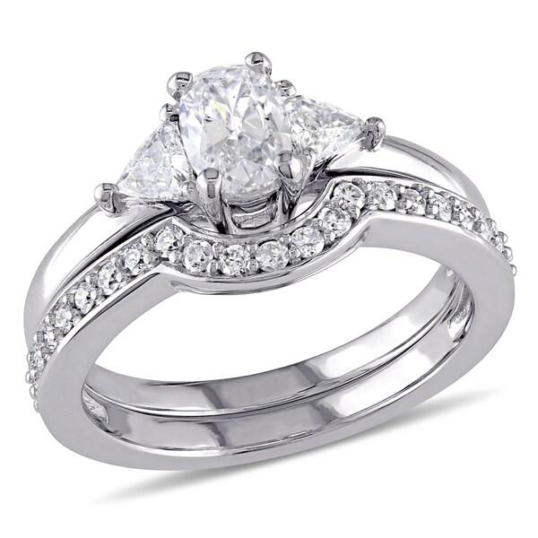 93bcf7ccfe25f5 Miadora Signature Collection 14k White Gold 1ct TDW Diamond 3-stone Bridal  Ring Set