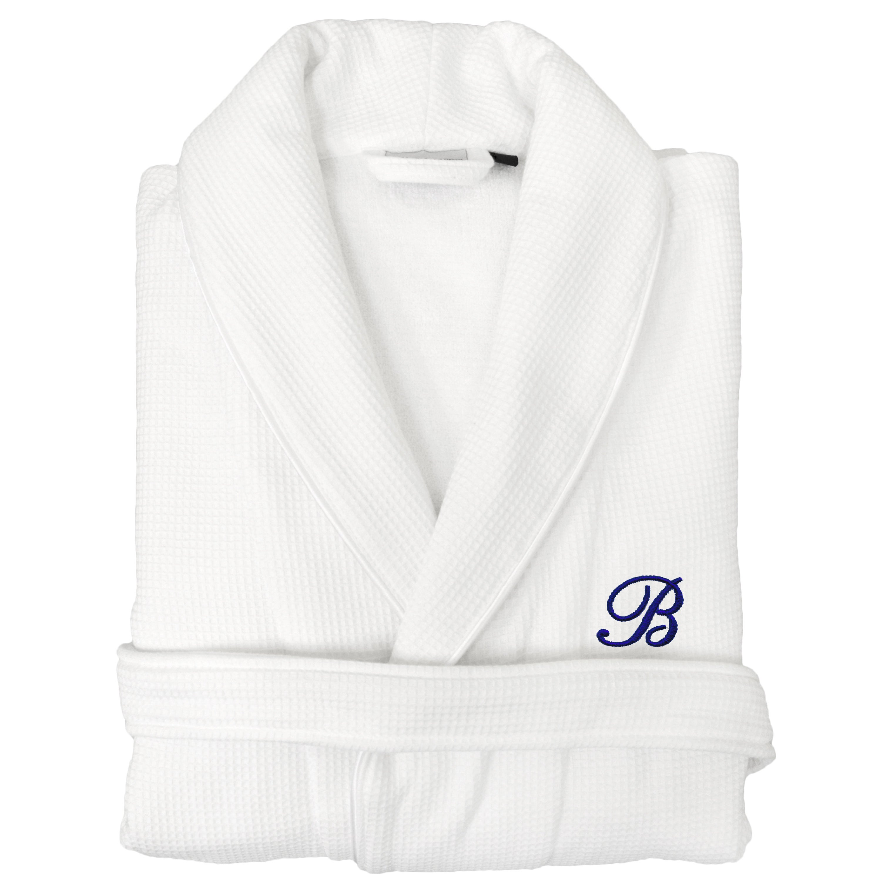 7d3dec878a Shop Authentic Hotel and Spa Unisex Navy Blue Monogrammed Turkish Cotton  Waffle Weave Terry Bath Robe - On Sale - Free Shipping Today - Overstock -  10584622