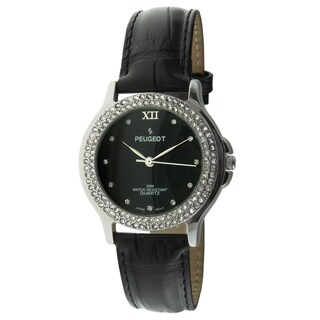 Peugeot Women's Silvertone Crystal Oval Red Leather Strap Watch